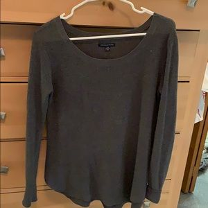 Gray American Eagle scoop neck knot sweater